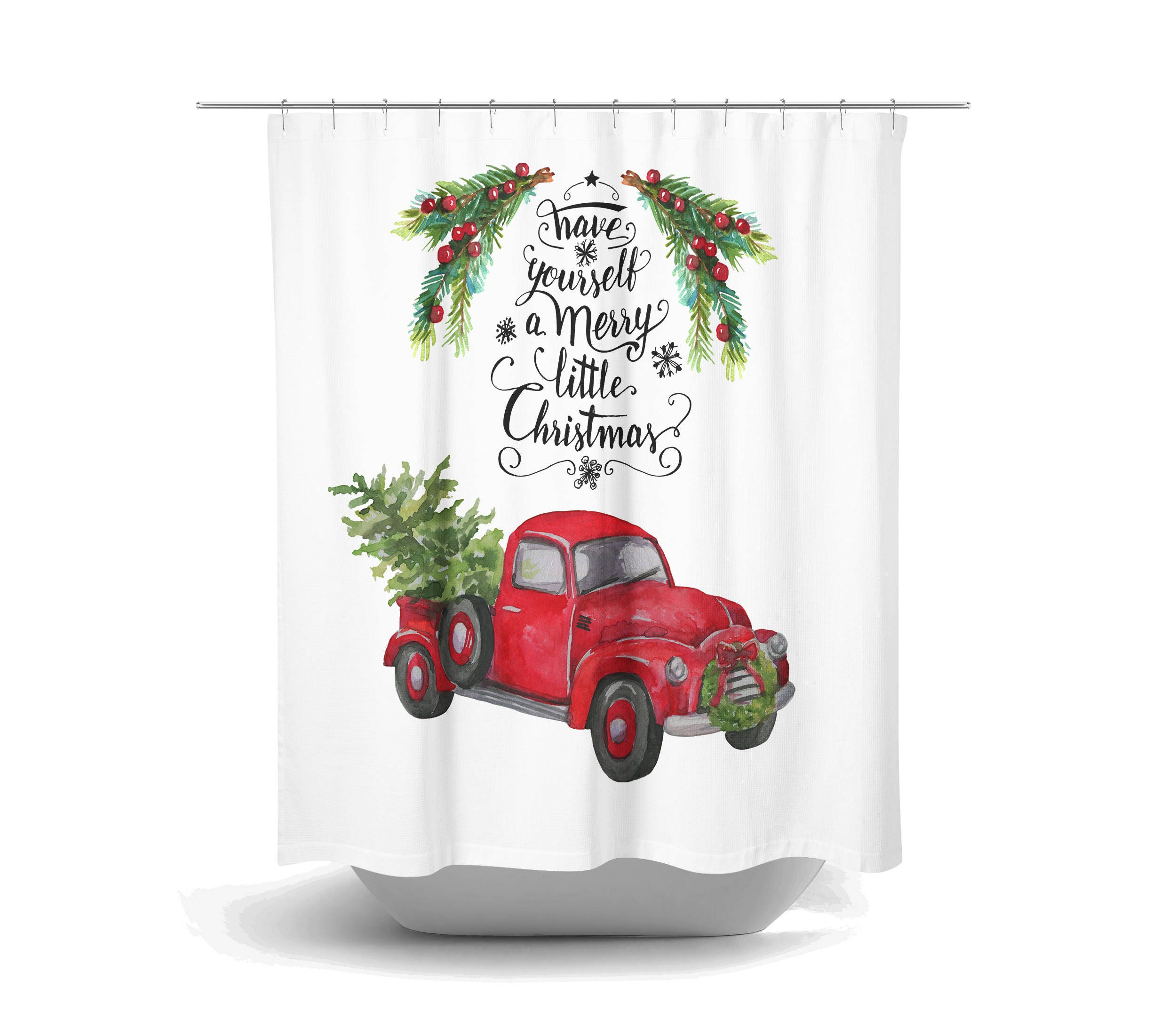 Christmas Red Truck With Tree Shower Curtain Bath Mat