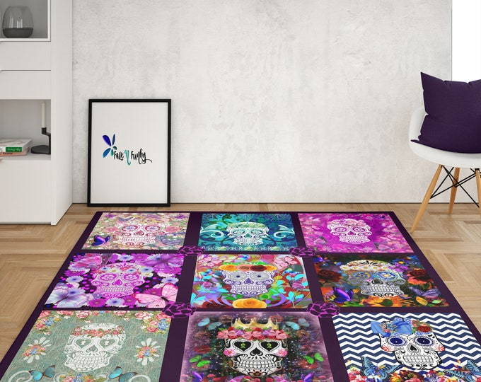 Sugar Skull Area Rugs ,Throw Rug, Available in 4 Sizes