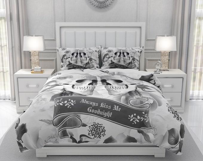 Skull Couple Duvet Cover or Comforter