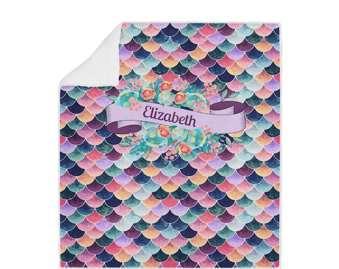 Personalized Mermaid Scales Sherpa Blanket