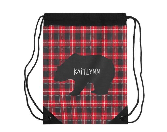 Personalized Buffalo Plaid Drawstring Bag