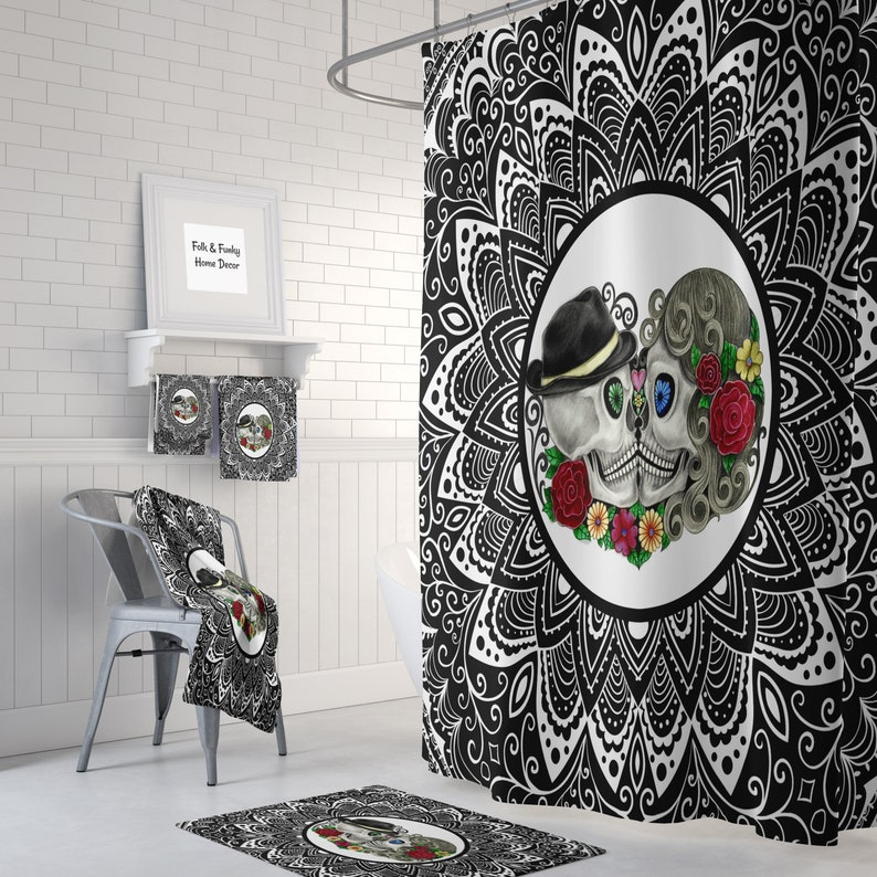 Sugar Skull Shower Curtain Mandala Forever More Skulls