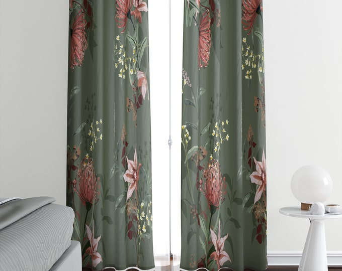 Green Floral Window Curtains