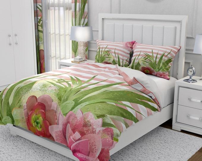 Pink Watercolor Cactus Comforter, Duvet Cover, Pillow Shams