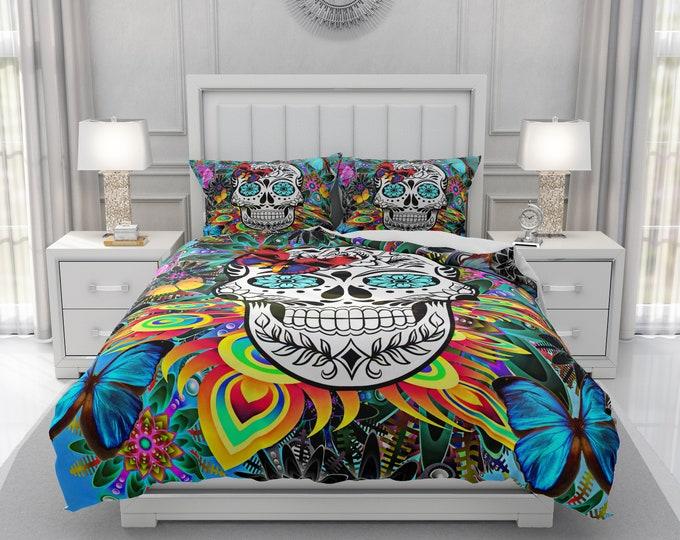Sugar Skull Bedding | Comforter or Duvet Cover Set | Twin, Full, Queen, King Size Bedding | Pillow Shams