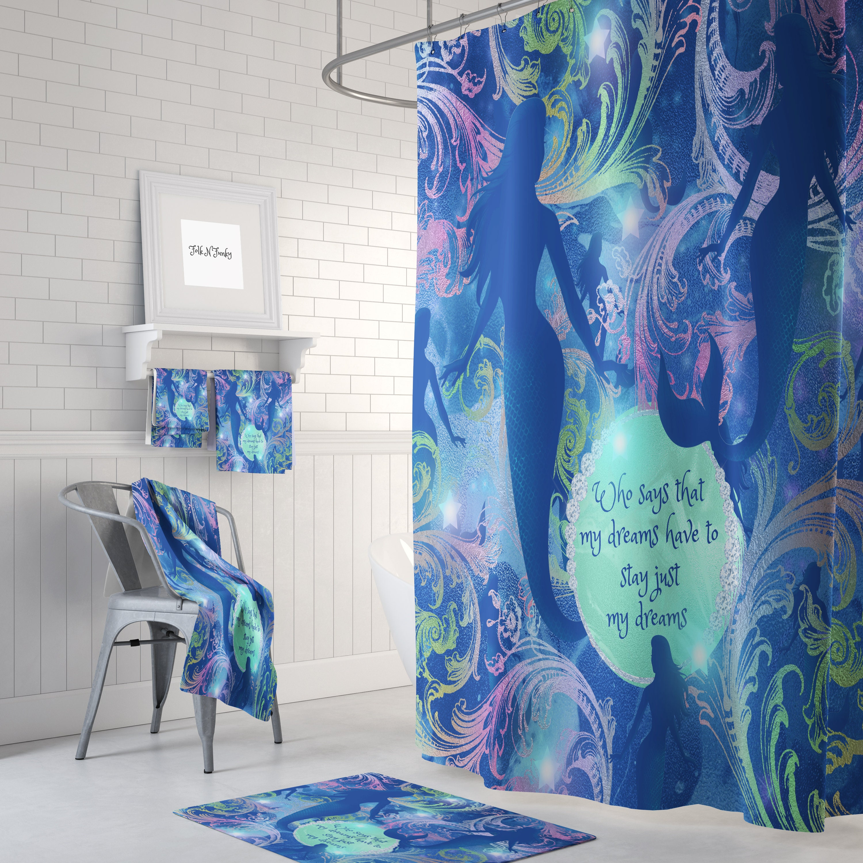 Mermaid shower curtain mermaid decor mermaid bathroom mermaid towels mermaid bath mat mermaids