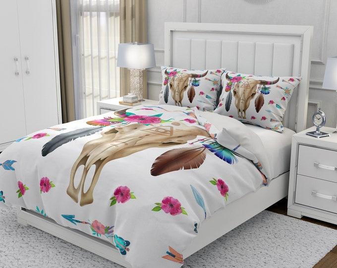 Bull Skull Bedding, Optional Comforter, Duvet Cover Pillow Shams