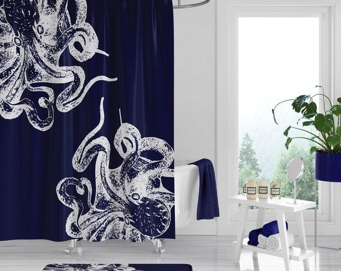 Navy Blue Octopus Shower Curtain