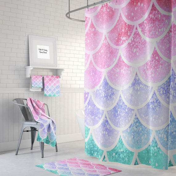 Pastel Mermaid Scales Shower Curtain Bath Towel Mat