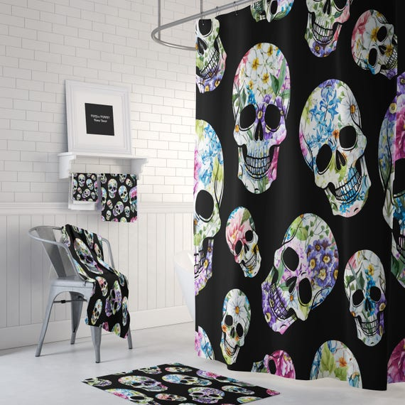 Sugar Skull Shower Curtain Day Of The Dead Pastel Floral