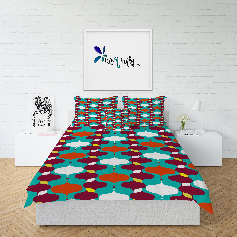 Mid century modern bedding comforter twin full queen king bedding duvet cover funky atomic bedding