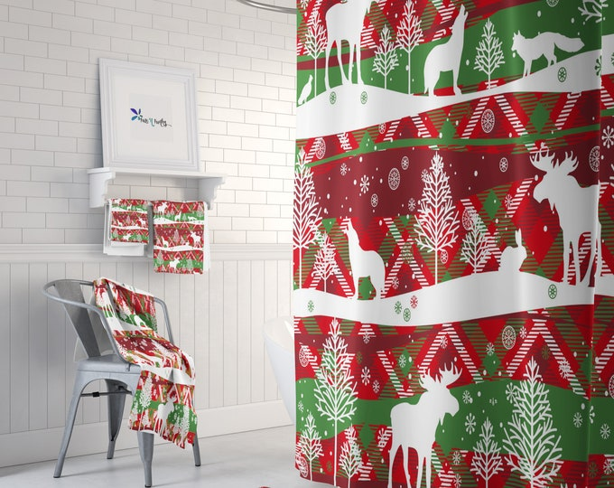 Woodland Christmas Shower Curtain Optional Towels and Bath Mat
