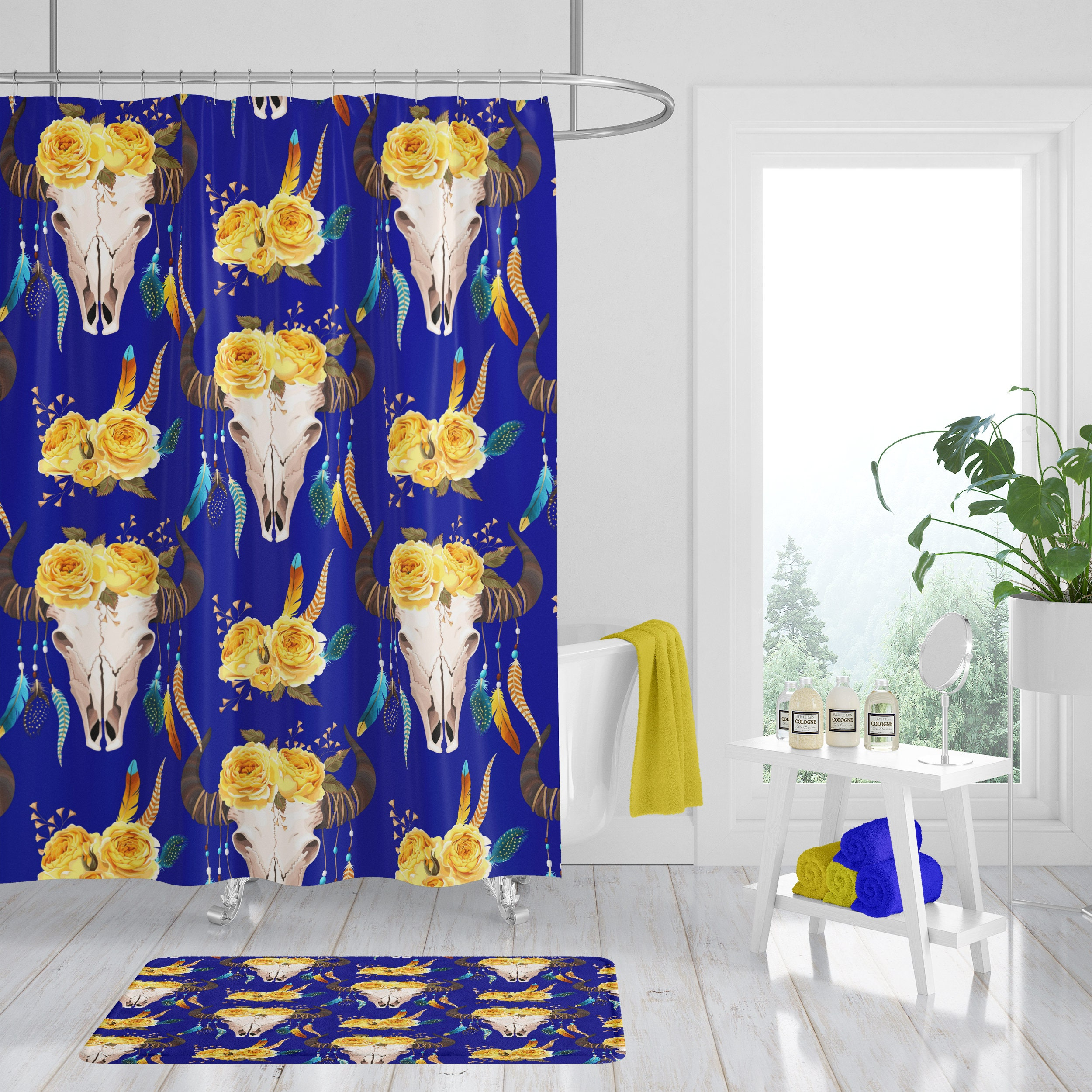 Shower Curtain Boho Decor Curtains Bath Mat Towels Bull Skull Floral Cobalt Blue Yellow
