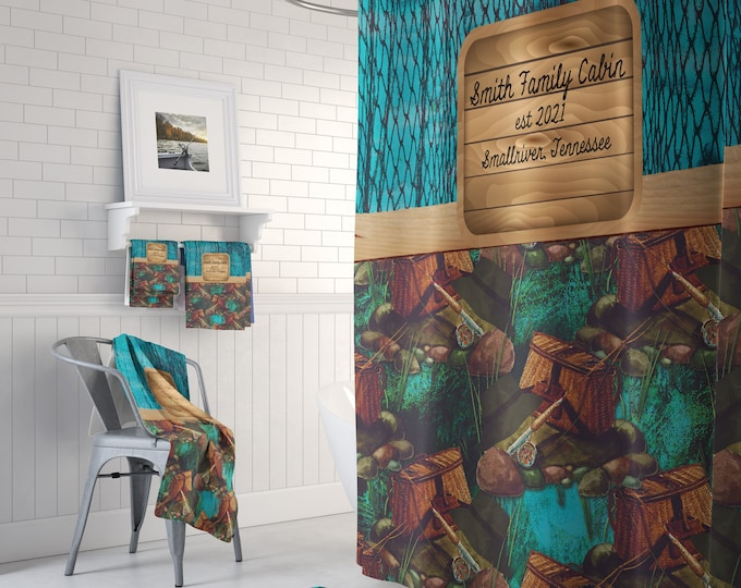 Personalized Shower Curtain Lodge Cabin Fishing Theme Optional Bath Mat Set