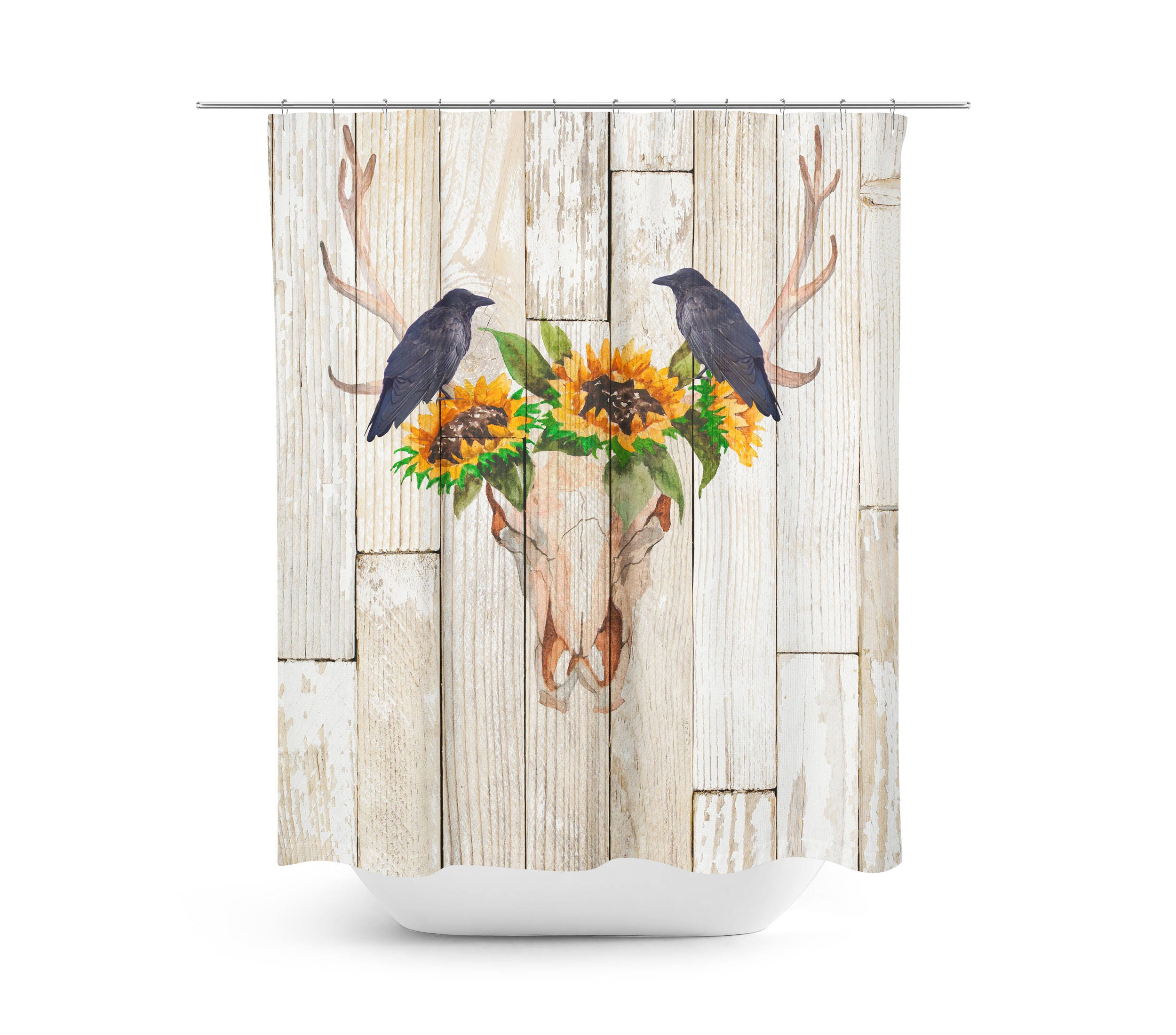 Rustic Shower Curtain Antlers Sunflowers Crow Wood