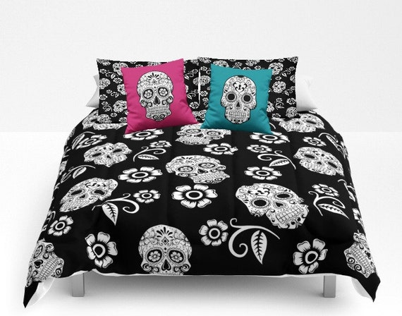 Sugar Skull Comforter Set Duvet Cover Day Of The Dead