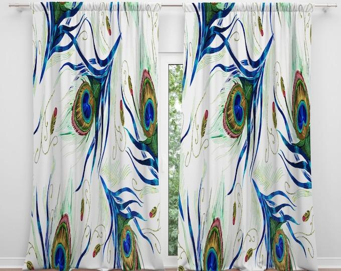 Peacock Design Window Curtains