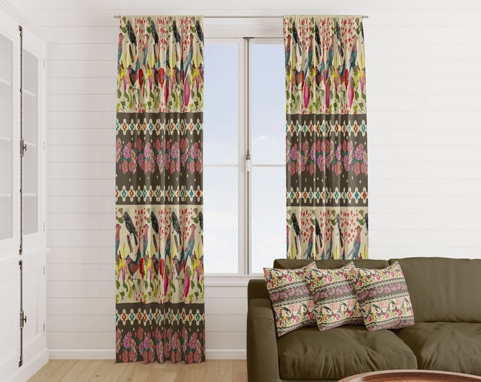 Eclectic Boho Bird Window Curtains Many Options