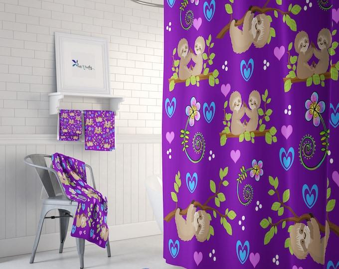 Purple Sloth Shower Curtain or Bathroom Set