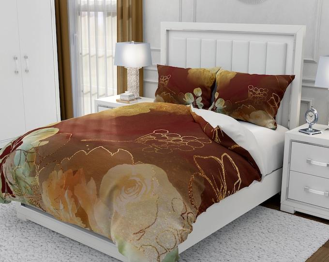 Brown Boho Floral Bedding Set