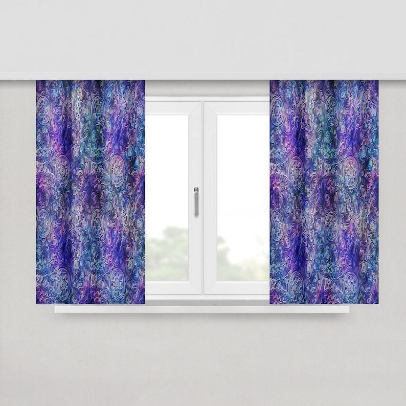 Boho Purple Gypsy Pastel Window Curtains