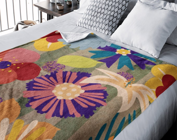 Floral Throw Blanket Modern Memphis Sherpa Blankets