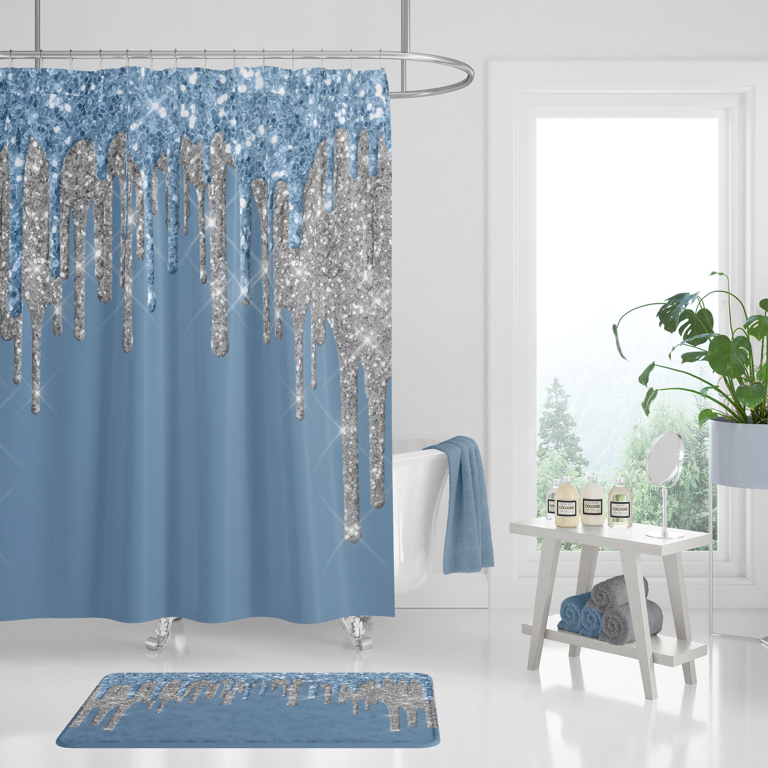 Shower Curtain Blue And Silver Bath Towels Mat Boho Bathroom Decor