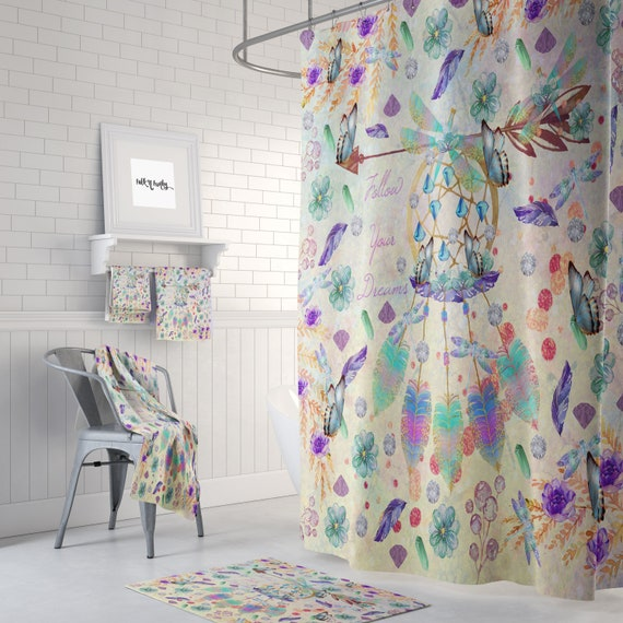 Boho Dreamcatcher Shower Curtain Beautiful Pattern Of