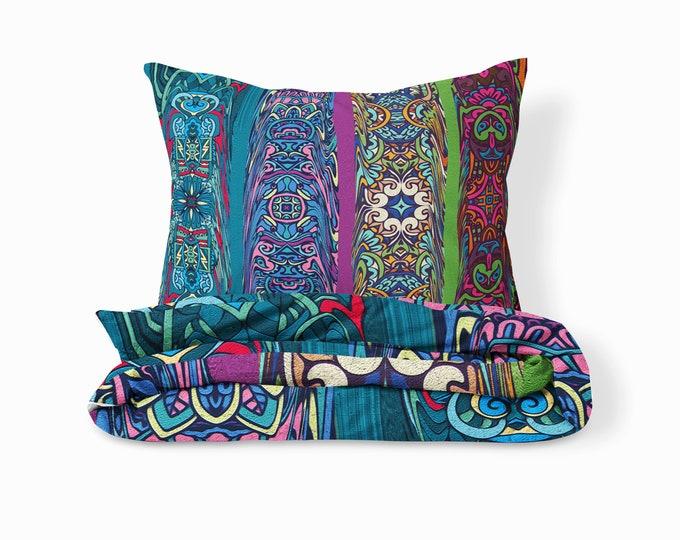 Boho Hippie Comforter, Duvet Cover, Pillow Shams Retro Abstract