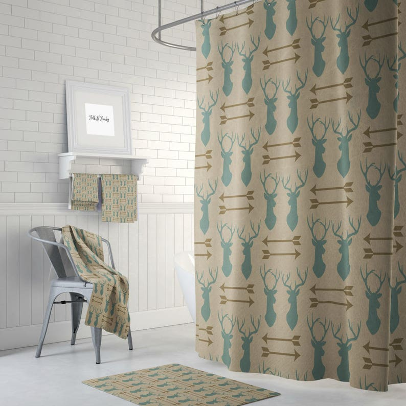 Shower Curtain Rustic Deer And Arrows Lodge Decor Bath Mat