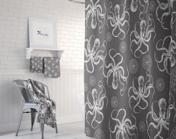 Octopus Bathroom Decor, Shower Curtain, Mix and Match Towels , Bath Mat