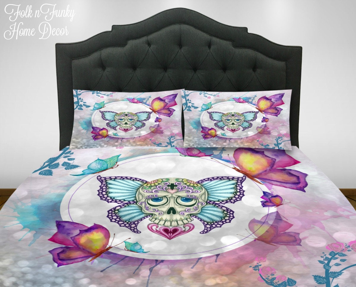 Sugar Skull Bedding Set Duvet Cover Or Comforter Twin