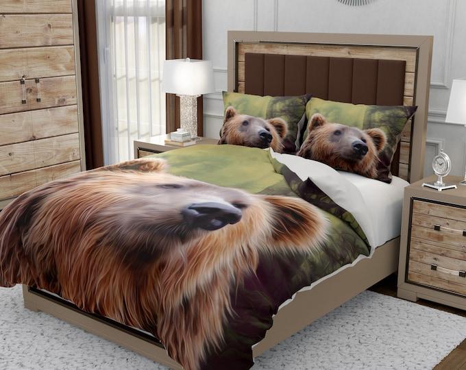Woodland Rustic Bear Comforter, Duvet Cover, Pillow Shams