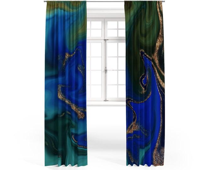 Bohemian Lake Marbled Window Curtains