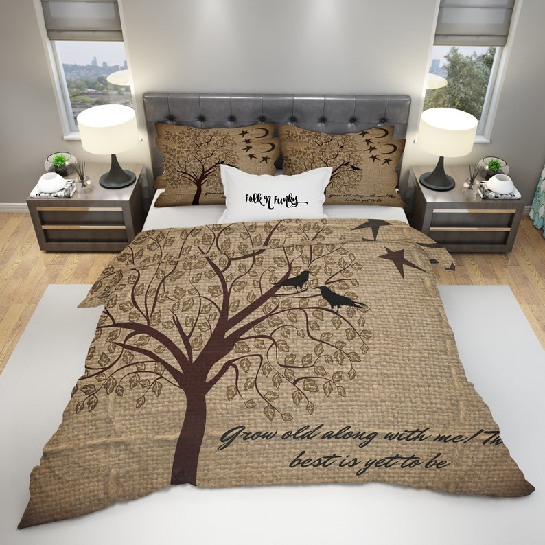 Rustic Duvet with Inspirational Words by FolkandFunky