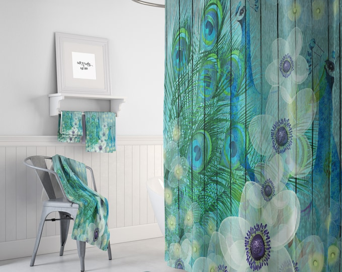 Peacock Shower Curtain, Teal Floral, Faux Wood , Peacock Decor, Peacock Feathers