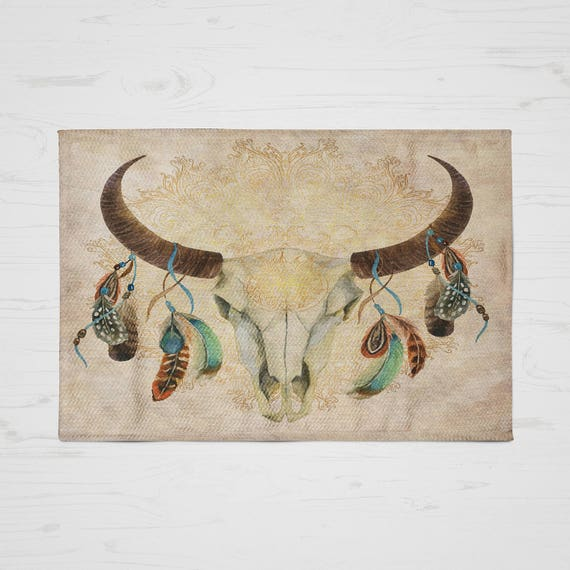 Skull Area Rugs: Items Similar To Boho Chic Bull Skull Area Rug ,Throw Rug