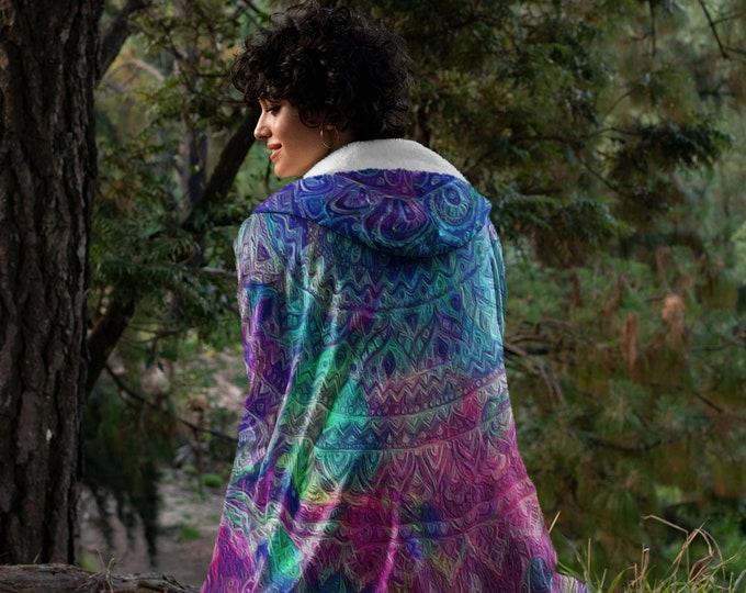 Large Hooded Sherpa Fleece Blanket , Boho Poncho Blanket 60 x 80