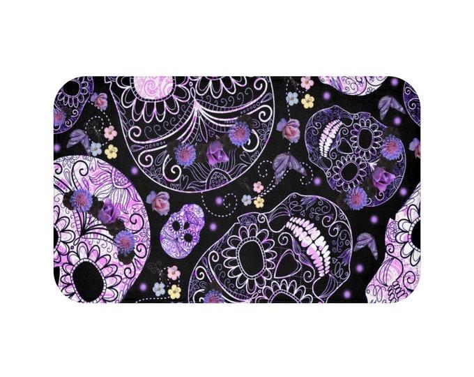 Purple Sugar Skull Bath Mat