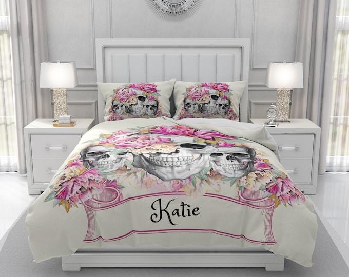 Personalized Skull Bedding, Pink Floral, Day Of The Dead Comforter, Skull Duvet Cover, Floral Skulls Doona Cover