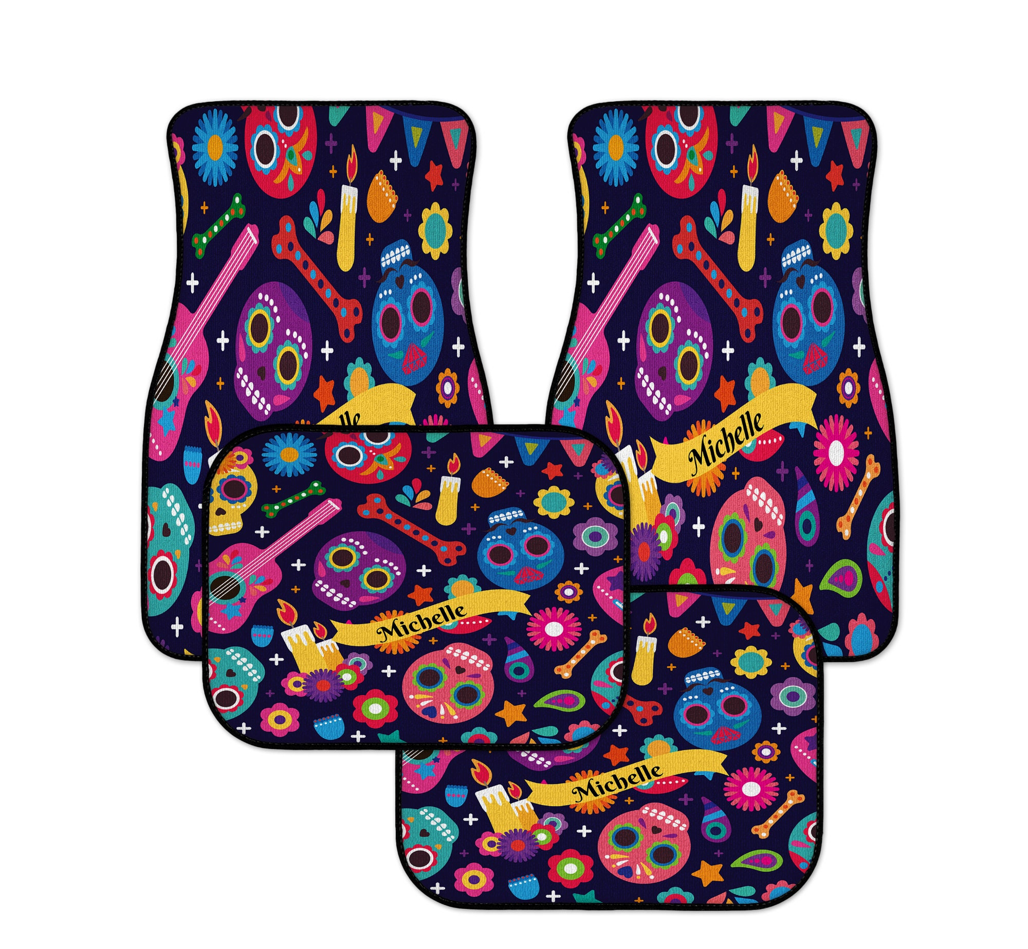 Sugar Skull Car Mats Personalized Custom With Your Name Day Of The Dead