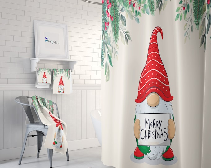 Christmas Gnome Shower Curtain Optional Towels and Bath Mat