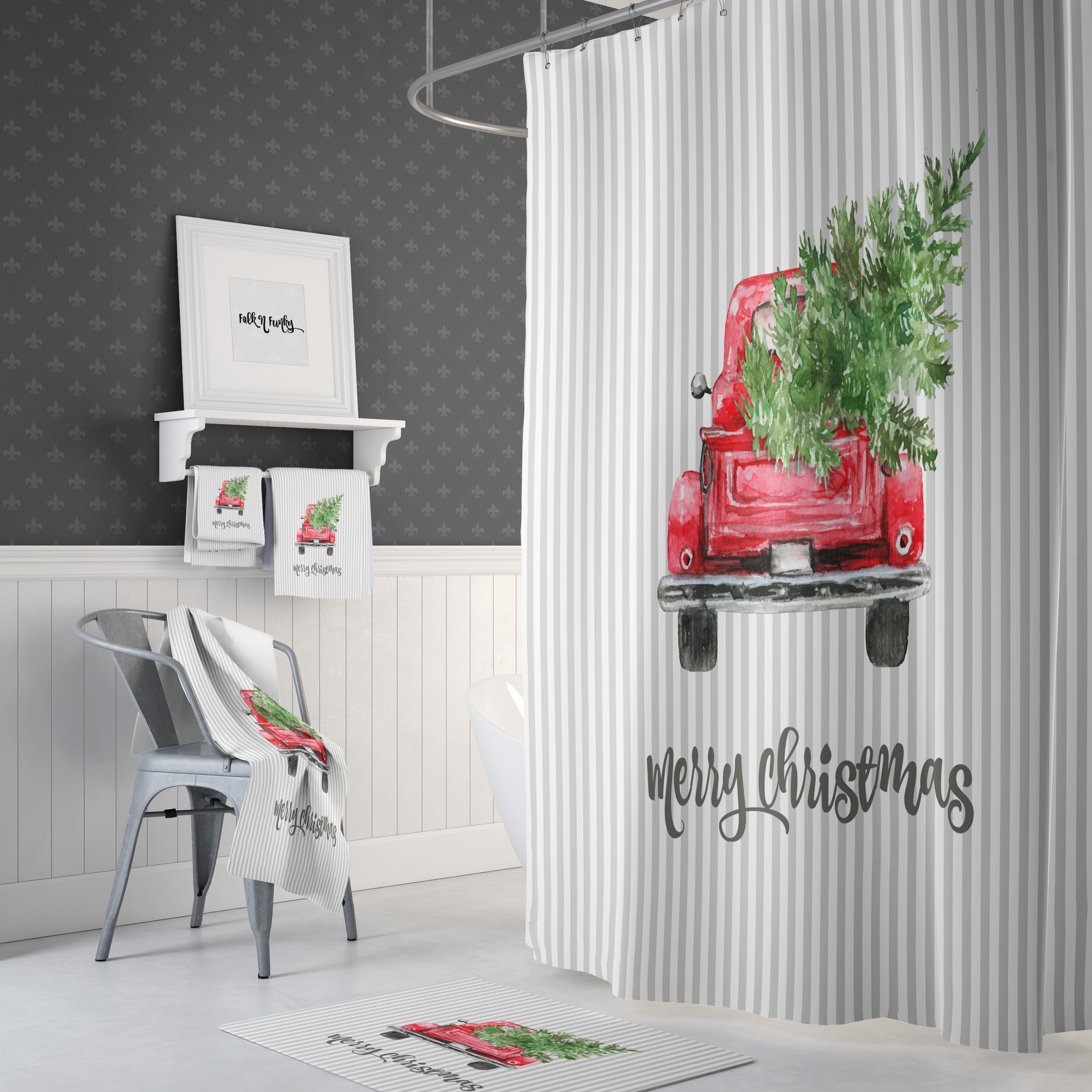 Shower Curtain Red Truck With Christmas Tree Gray Stripes