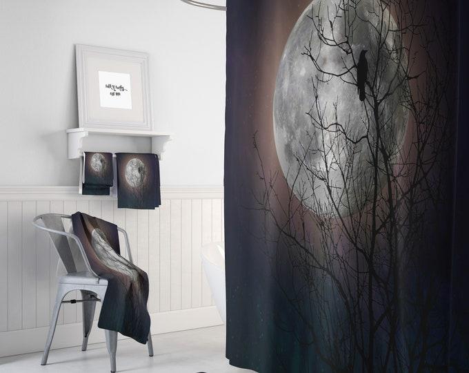 Raven Bird  Moon Tree Shower Curtain Moon Glow