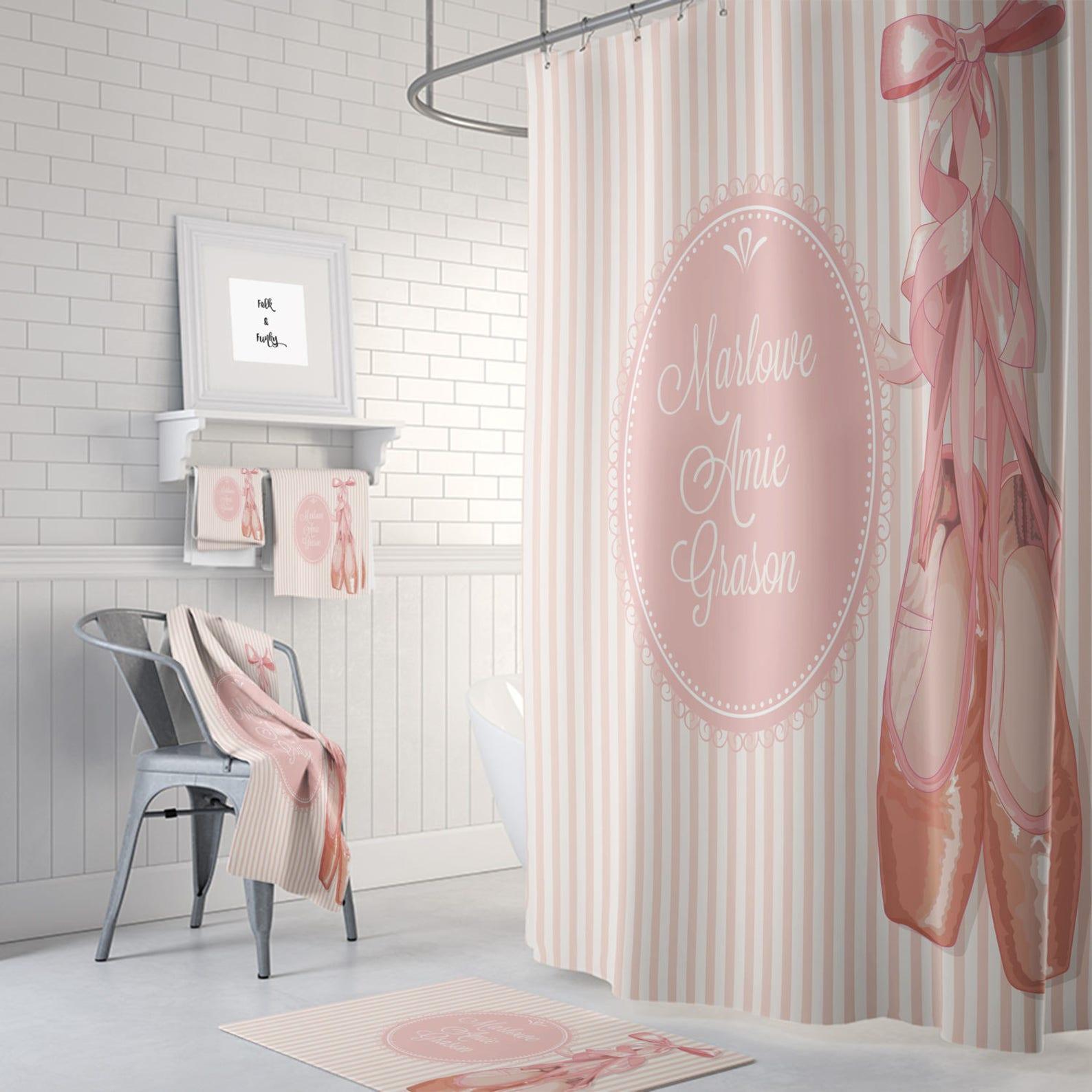 personalized ballet theme shower curtain optional bath mat/towels set