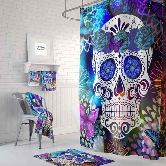 Sugar Skull Shower Curtain Butterfly Burst Optional Bath