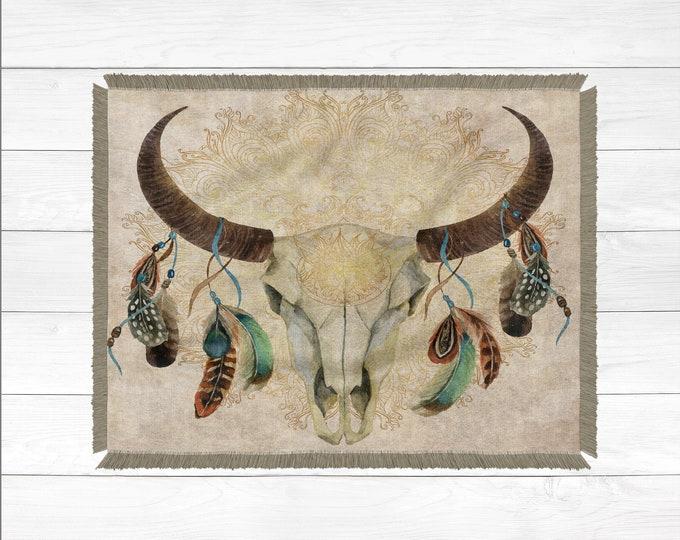 Bull Skull Blanket, Woven Blanket, 100% Cotton Blanket