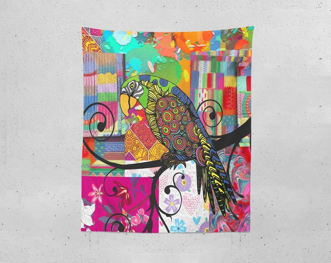 Boho Wall Tapestry , Colorful Art With Parrot