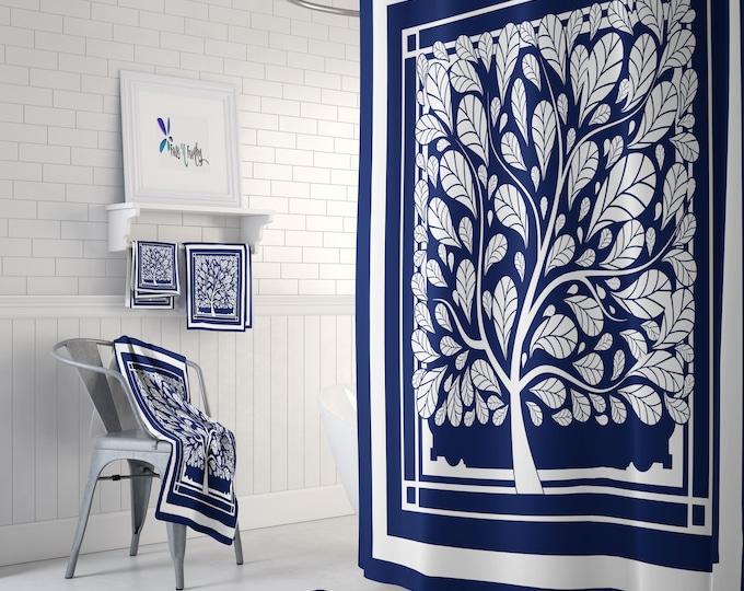 Hopes Tree Shower  Curtain Optional Set Blue and White