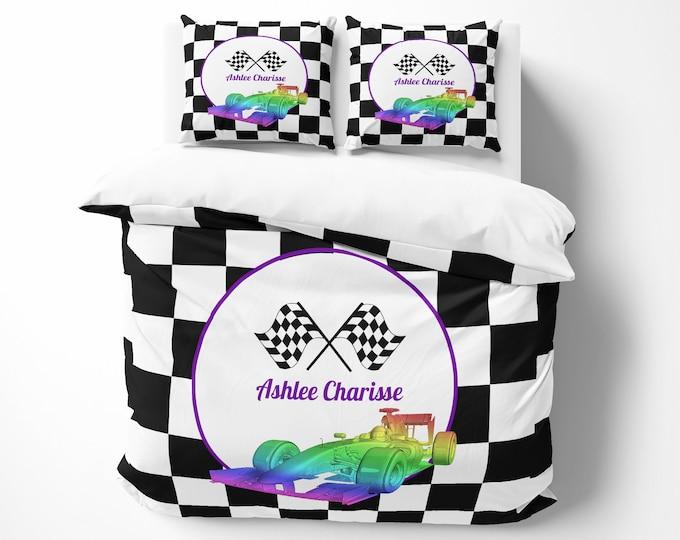 Personalized Race Car Comforter Pastel Car , Duvet Cover Option Bedding Set